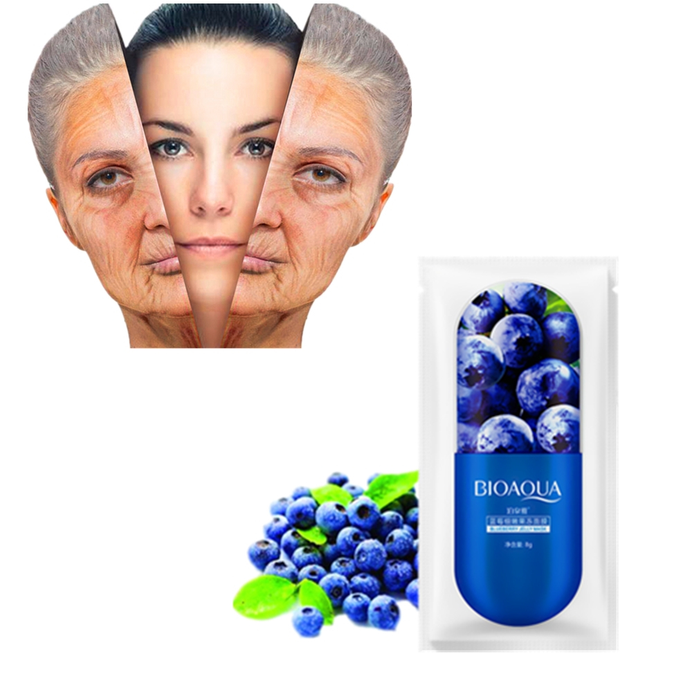 New Anti-aging Lifting Firming Facial Serum Masks Blueberry Hyaluronic Acid Essence Skin Care Sheets Anti Wrinkles Face Masks
