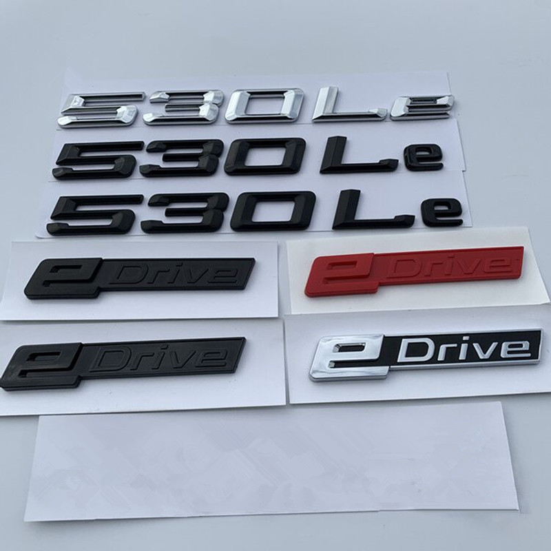 3D ABS edrive e <font><b>drive</b></font> 530le letter <font><b>Emblem</b></font> Badge Fender Trunk Car sticker For <font><b>BMW</b></font> 5 series new energy power Black chrome Red image