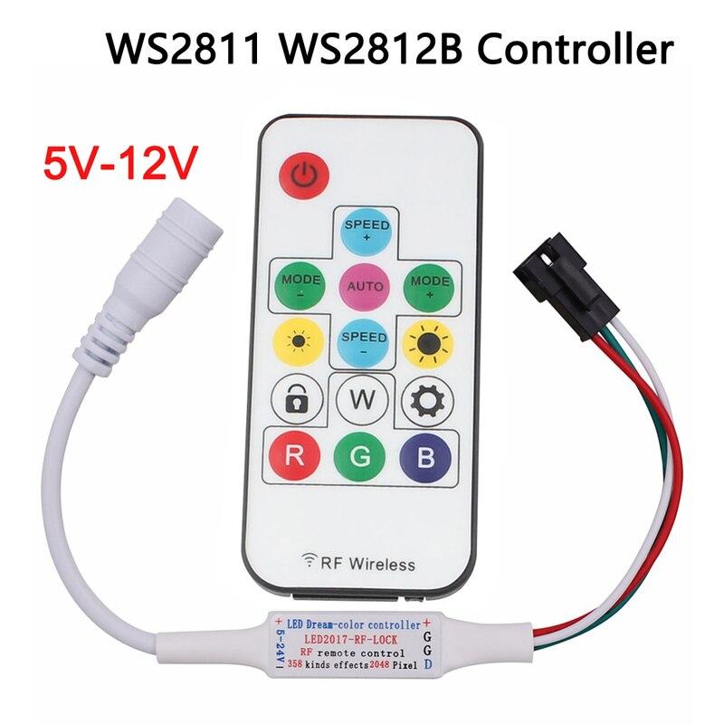 DC 5V 12V RGB LED Controller 14key WS2811 WS2812b Controller Magic Rgbw Rgbww Remote Control For Ws2812 Ws2812B Led Strip Light