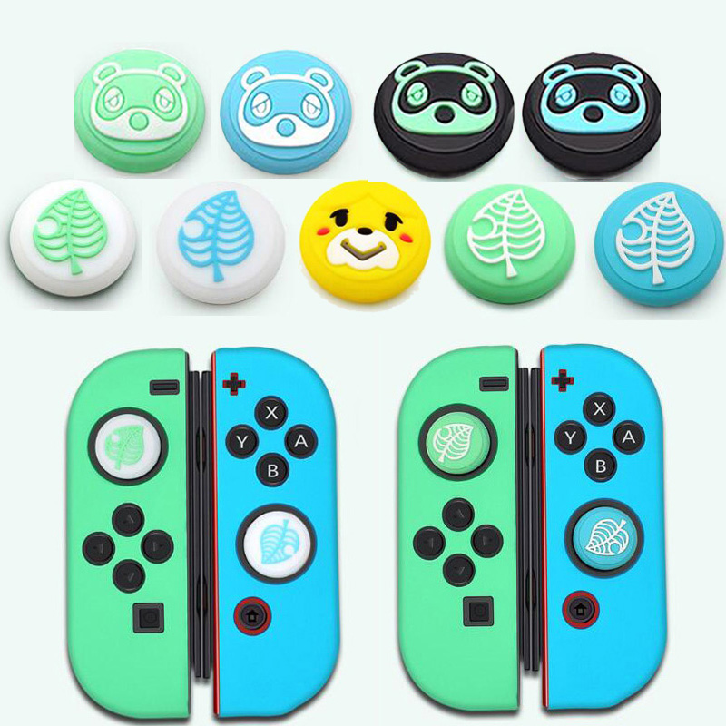 Animal Crossing Bear Leaf Paw Thumb Stick Grip Cap Joystick Cover For Nintendo Switch NS Lite Joy-Con Controller Thumbstick Case