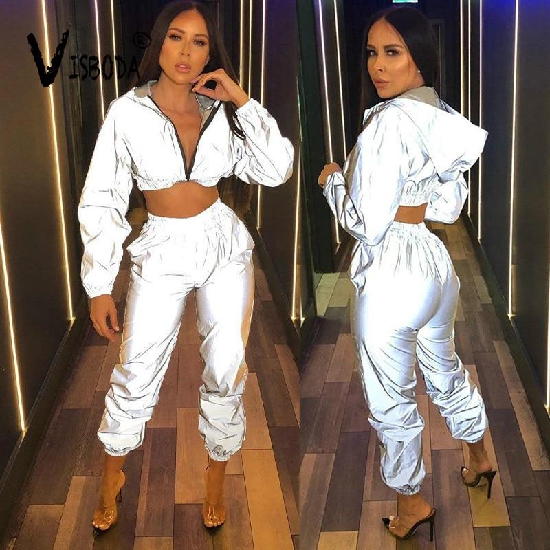 Women Tracksuit 2 Piece Set Reflective Crop Top Pants Fashion Female Loose Zipper Hooded Jacket Coat Matching Sets Plus Size