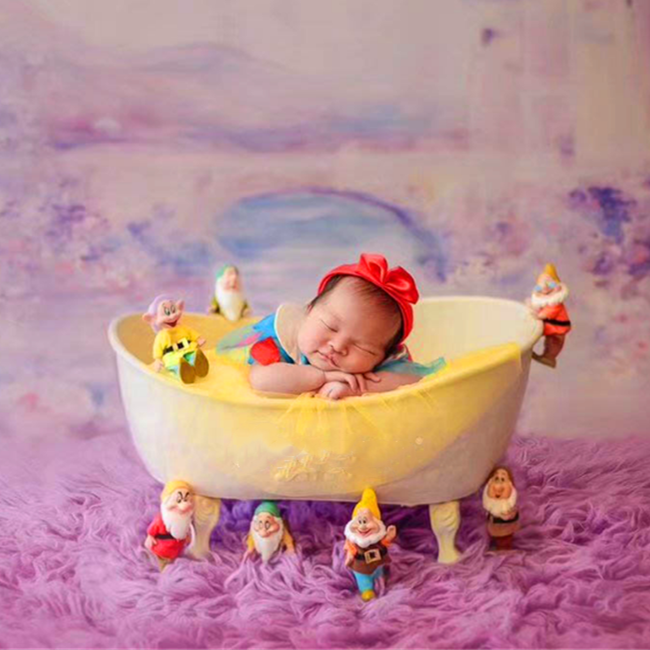 Baby Bathtub Newborn Photography Props Infant Photo Shooting Props Sofa Posing Shower Basket Accessories  Yellow Duck & Cotton