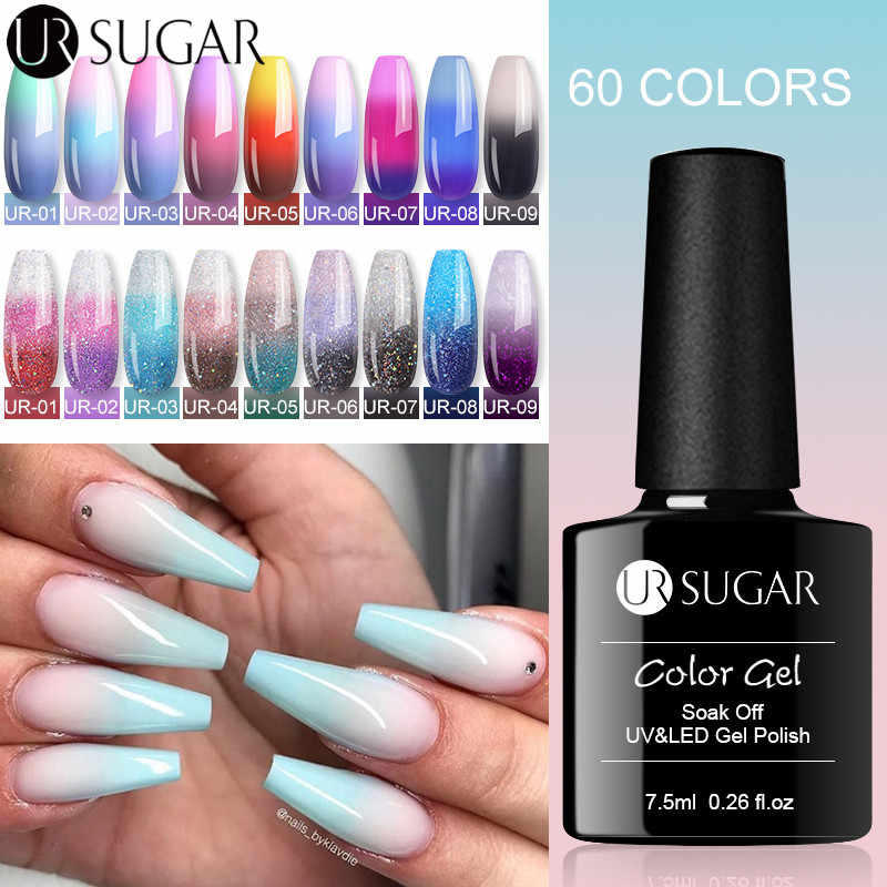 UR GULA Termal Glitter Shimmer Kuku Gel 3 Warna Suhu Berubah Warna UV Gel Varnish Soak Off Nail Art gel