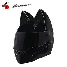 NITRINOS Motorcycle Helmet Women Personality Moto Capacete Black Helmet