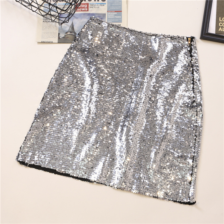 2019 Summer Sequined Mini Skirts Women Bling Bling Shiny Skirts Sexy Party Mini Skirt