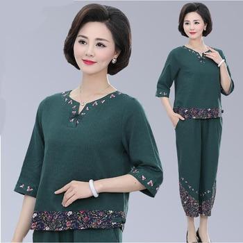 oriental costume women two piece set summer tang suit female vintage floral elegant ladies clothes cotton linen sets