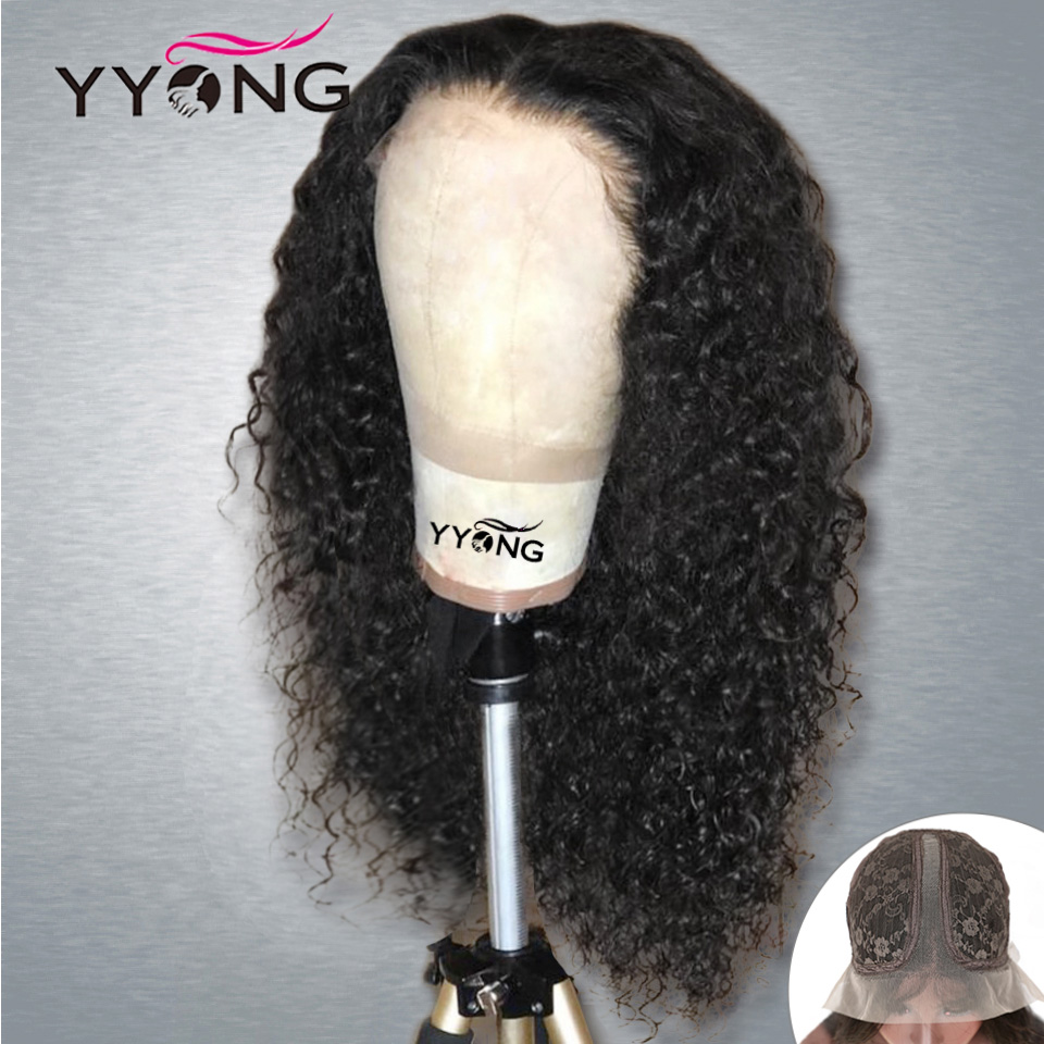 YYong 1x4& 1x6 Topline Lace Kinky Curly Lace Part  Wig HD Transparent Lace Wigs  Wig 32inch 1