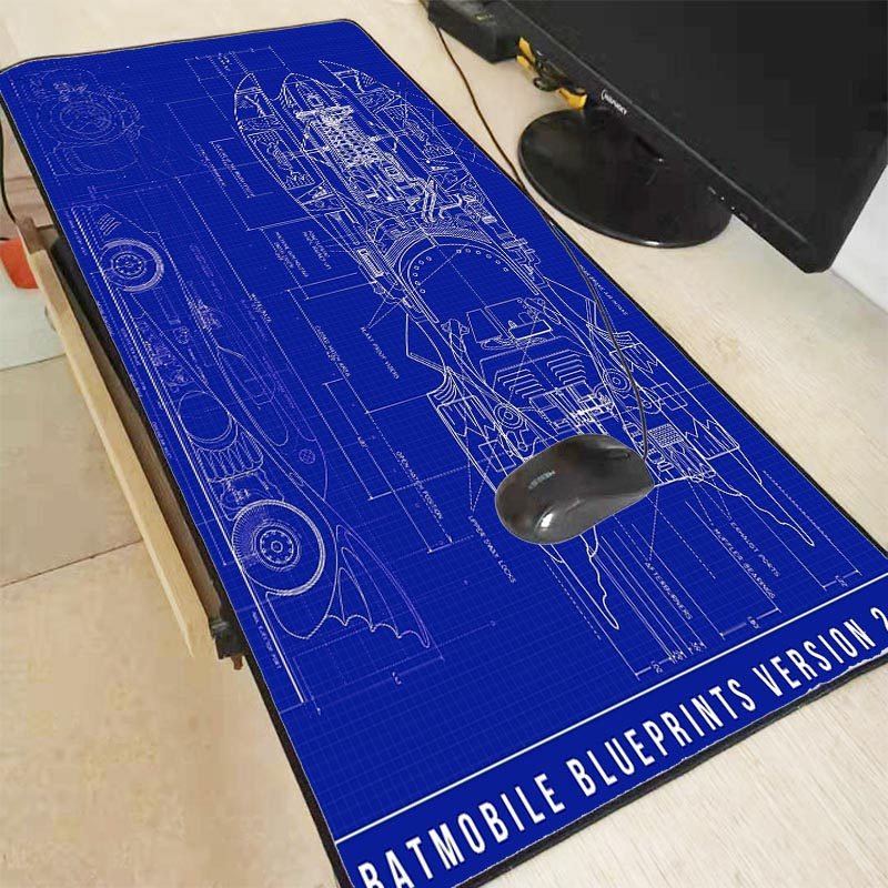 Mairuige Batman Batmobile Blueprints  Large Gaming Mouse Pad For Gamer Lock Edge Mousepad Laptop Computer Mouse Mat For CS GO