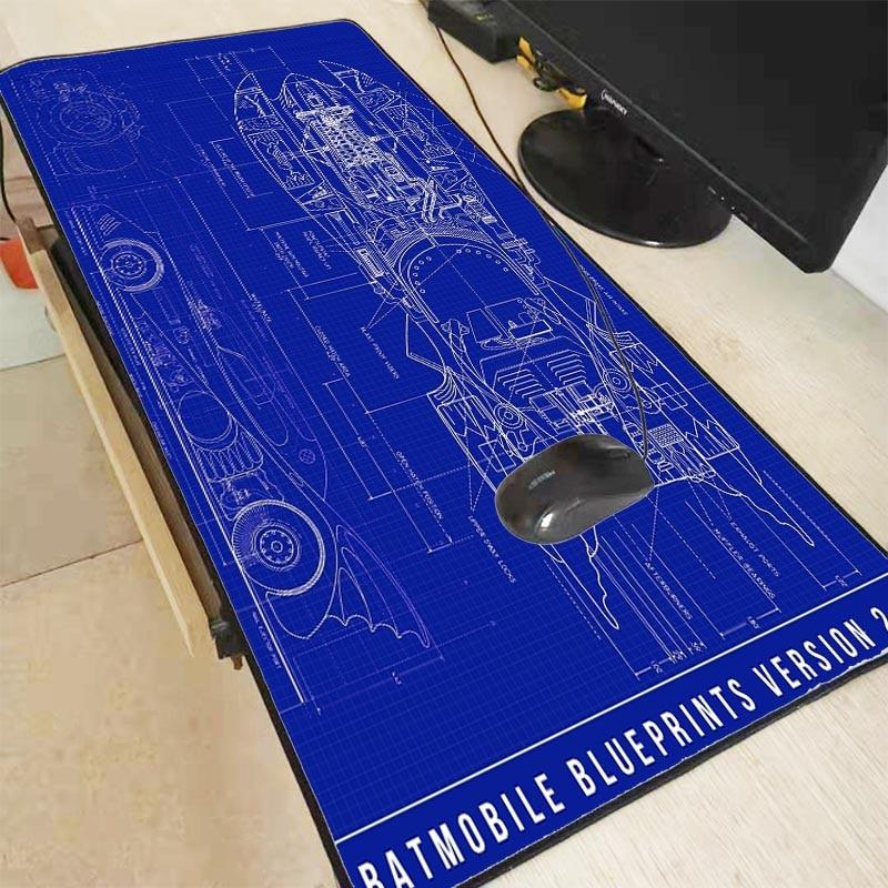 Mairuige Batman Batmobile Blueprints  Large Gaming Mouse Pad For Gamer Lock Edge Mousepad Laptop Computer Mouse Mat For CS GO