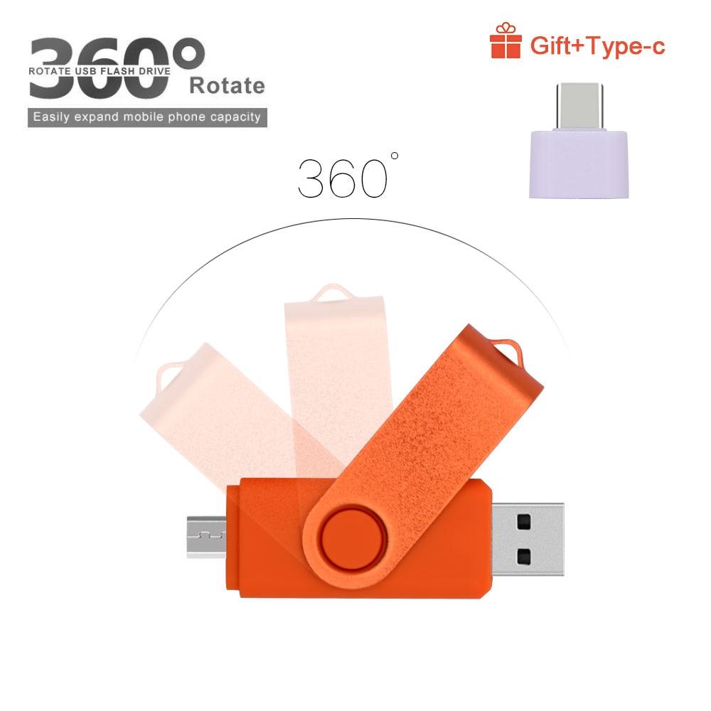 High Speed Pendrives OTG USB 2.0 PC&Smartphone Flash Drive 8GB 16GB 32GB 64GB Metal Customize LOGO Memory Stick(10pcs Free Logo) 3