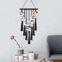 Creative Macrame Wall Hanging Nordic Tapestry Hand-woven Cotton Rope Decorative Solid Tassel Clip Photo Boho Decor