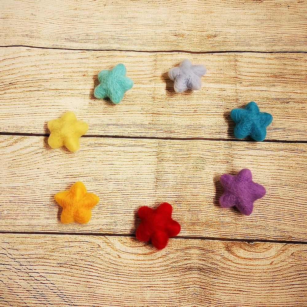 7pcs Pack Newborn Handmade 100% Wool Felt Star Shape Photography Studio Props Infant fotografia Accessories Baby Girl Boy Photos