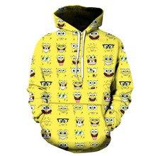 Sudadera con capucha de esponja Para hombre, prenda deportiva masculina de poliéster con estampado 3d de dibujos animados en color amarillo