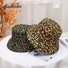 Badinka 2021 New Punk Leopard Print Bucket Hat Bob Femme Panama Beach Buket Hat Fisherman Fishing Sun Visor Hats for Women Men