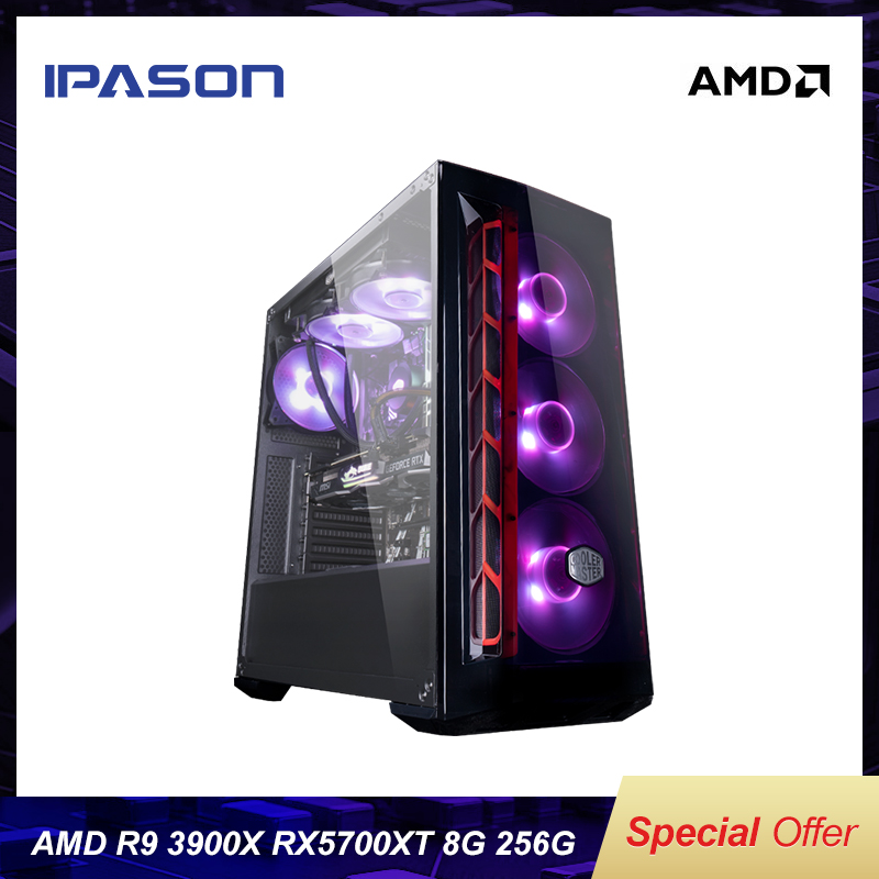 IPASON Gaming Computers AMD R9 3900X Dedicated Card RX5700XT 8G 256G SSD DDR4 8G RAM HIGH-performance Computers PUBG Assembly PC