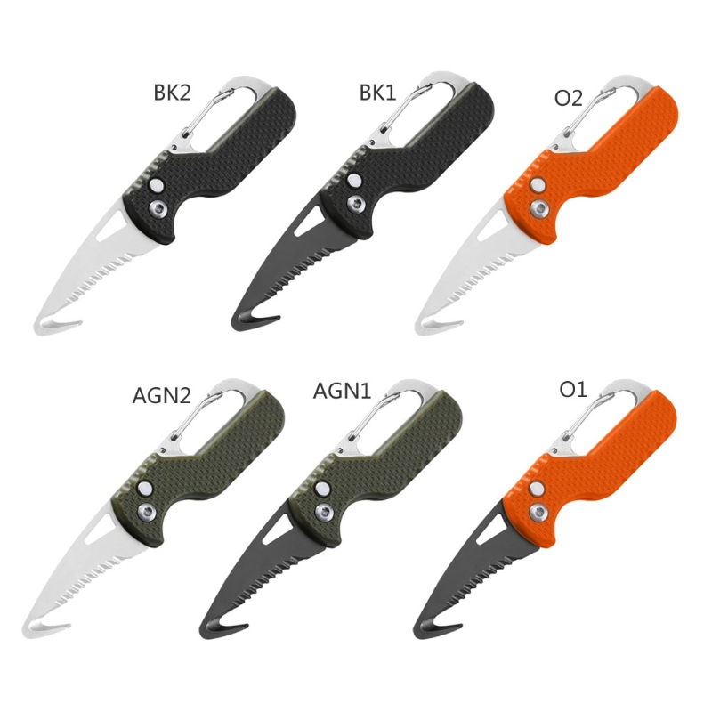 Folding Knife with Keychain Serrated Hook Pocket Hunting Knife,Outdoor Survival Knife Camping Fishing Knife