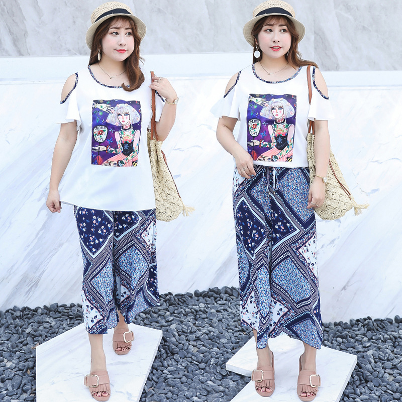 2019 Summer New Style Large Size Dress Chiffon Two-Piece Set Fashion And Personality Ethnic-Style Set Fat Mm Dress 1188