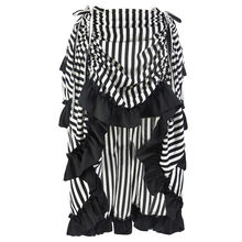 Halloween Skirt Women Gothic Steampunk Stripe Bandage Irregular Party Skirt Ethnic Dance Stage Halloween Performance Skirt 7(China)