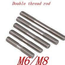 2 шт./лот M6 M8* 30/35/40/45/50/60/70/80/90/100 метрических из нержавеющей стали с двойным резьбовым стержень серьги-гвоздики