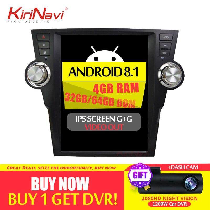 KiriNavi 12,1 1 Din Android 8,1 Автомагнитола для Toyota Highlander автомобильный Dvd мультимедийный плеер Android Gps навигация 2009-2013 wifi