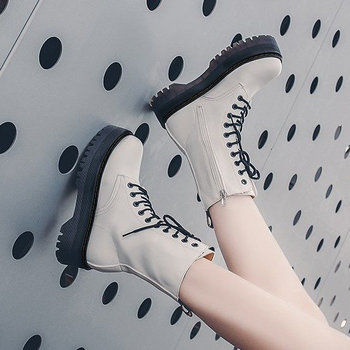 Fashion Zipper Flat Shoes Woman High Heel Platform PU Leather Boots Lace Up Women Shoes White Military Botas Mujer Girls doratasia 2018 lace up black white women boots woman shoes comfort flat heel wholesale hot sale mid calf boots shoes woman