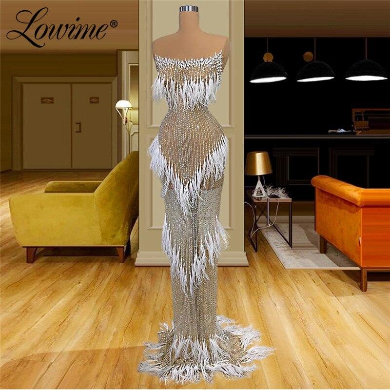 Luksusowe ciężkie perłowe koraliki dubaj illusion suknia 2020 szata De Soiree Aibye Celebrity suknie arabskie kryształy sukienki na przyjęcie