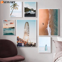 Ocean Landscape Canvas Poster Nordic Style Beach Pink Bus Wall Art Print Painting Decoration Picture Scandinavian Home Decor(China)