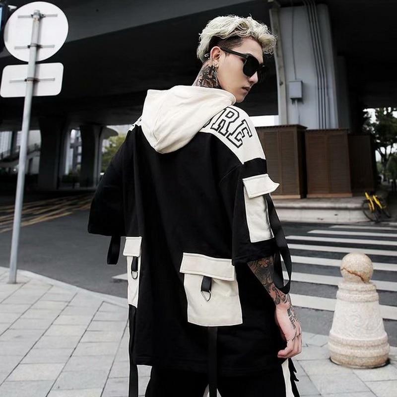 2020 Summer Short Sleeves Harajuku Korea Fashion Streetwear One Piece Hip Hop Rock Punk Men Hoodies Sweatshirt Clothes