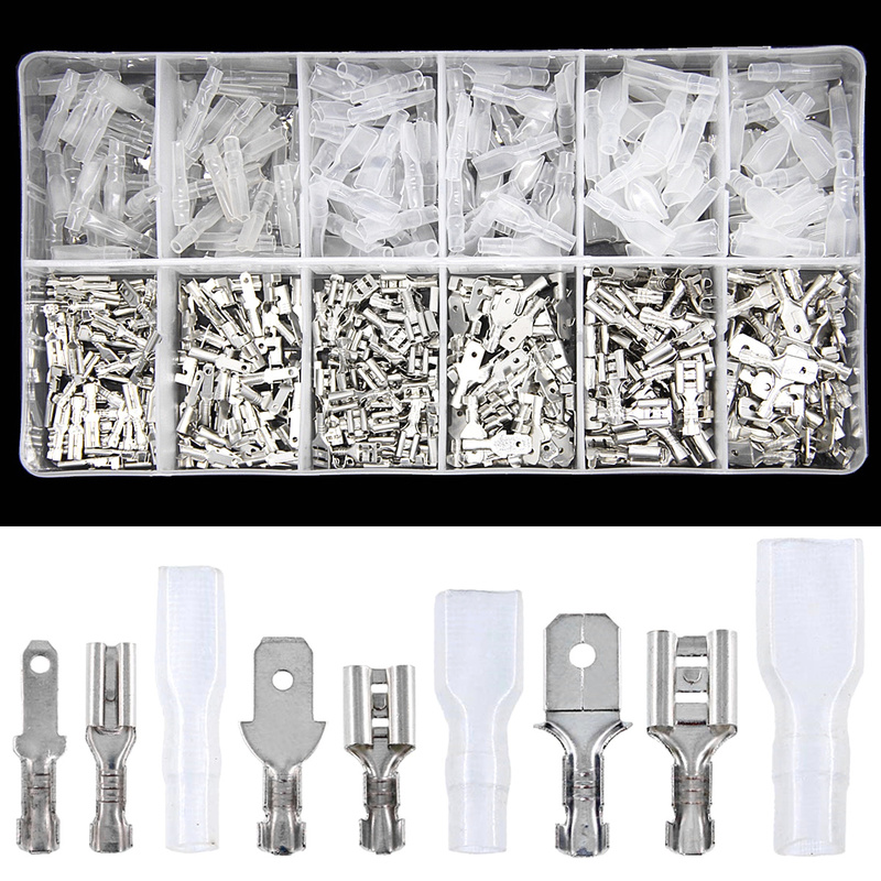 450PCS 2.8/4.8/6.3mm Assorted Automotive Splice Crimp Terminals Insulated Electrical Wire Butt Connectors Kit Female Male Spade|Terminals| |  - title=