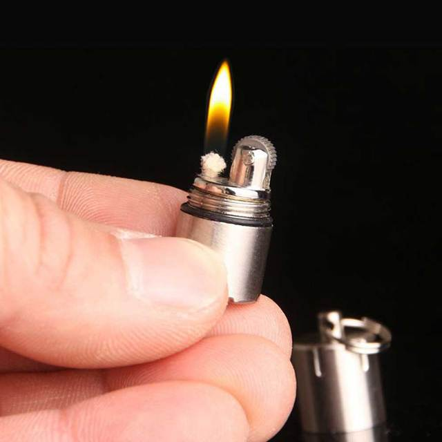 Mini Compact Kerosene Lighter Capsule Gasoline Lighter Inflated Key Chain Lighter Grinding Petrol Wheel Lighter Outdoor Tools