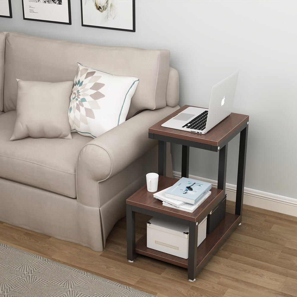 - Living Room Furniture Oval Solid Wood Coffee Table With 2 Tier