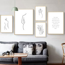 Abstract Geometric Line Woman Nordic Posters And Prints Wall Art Canvas Painting Black White Wall Pictures For Living Room Decor abstract minimalist sexy line woman wall art canvas painting nordic posters and prints wall pictures for living room home decor