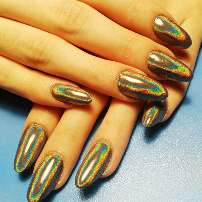 0 2g Holographic Laser Nail Glitter Powder Ultra thin Shining Laser Silver Glitters Manicure Used With UV Gel Polish Nail Decor in Nail Glitter from Beauty Health