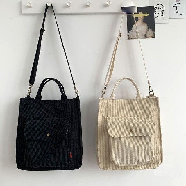 Hylhexyr Corduroy Shoulder Bag Women Vintage Shopping Bags Zipper Girls Student Bookbag Handbags Casual Tote With Outside Pocket 6