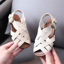 2021 New Summer Children #8217 s Sandals Genuine Leather Toddler Kids Shoes Fashion Braided Fish Mouth Girls Sandals 21-30 cheap GT-CECD Rubber 13-24m 25-36m CN(Origin) Soft Leather Flat Heels Hook Loop Fits true to size take your normal size Lycra