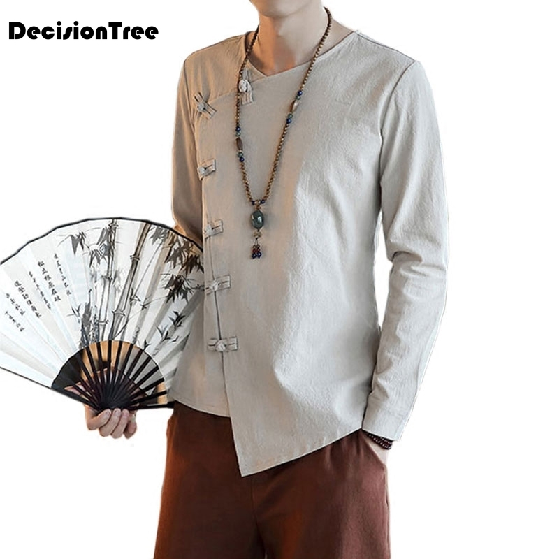 2019 china wind young men tops cotton costume hanfu male chinese men 39 s clothes costume folk style long sleeve tang suit in Tops from Novelty amp Special Use