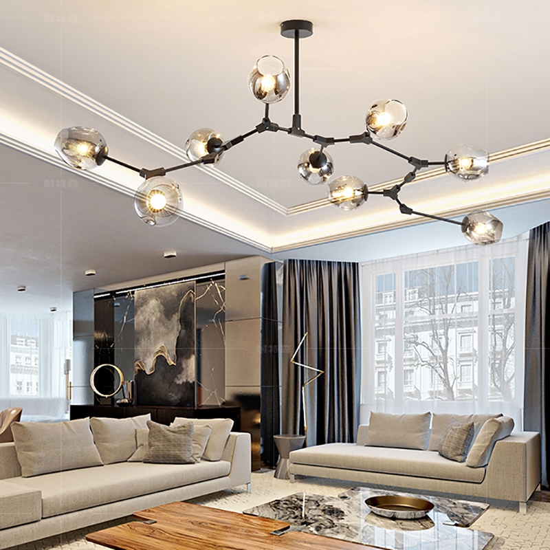 Modern Nordic Living Room Lamp Home Atmosphere Designer Personality Creative Dining Room Bedroom Villa Molecular Pendant Light
