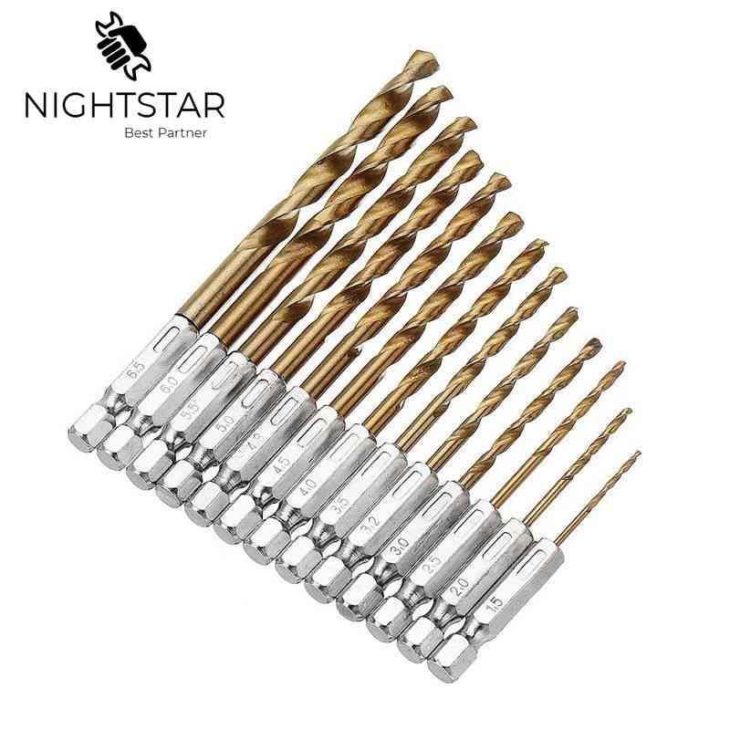13pcs Titanium HSS Coated Drill Bit Set 1/4 Hex Shank 1.5-6.5mm Twist Drill Bit HSS High Speed Steel
