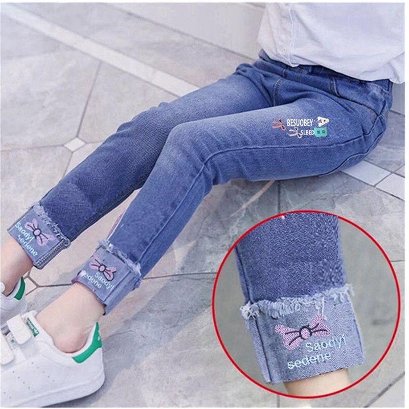 女童刺绣AB牛仔长裤