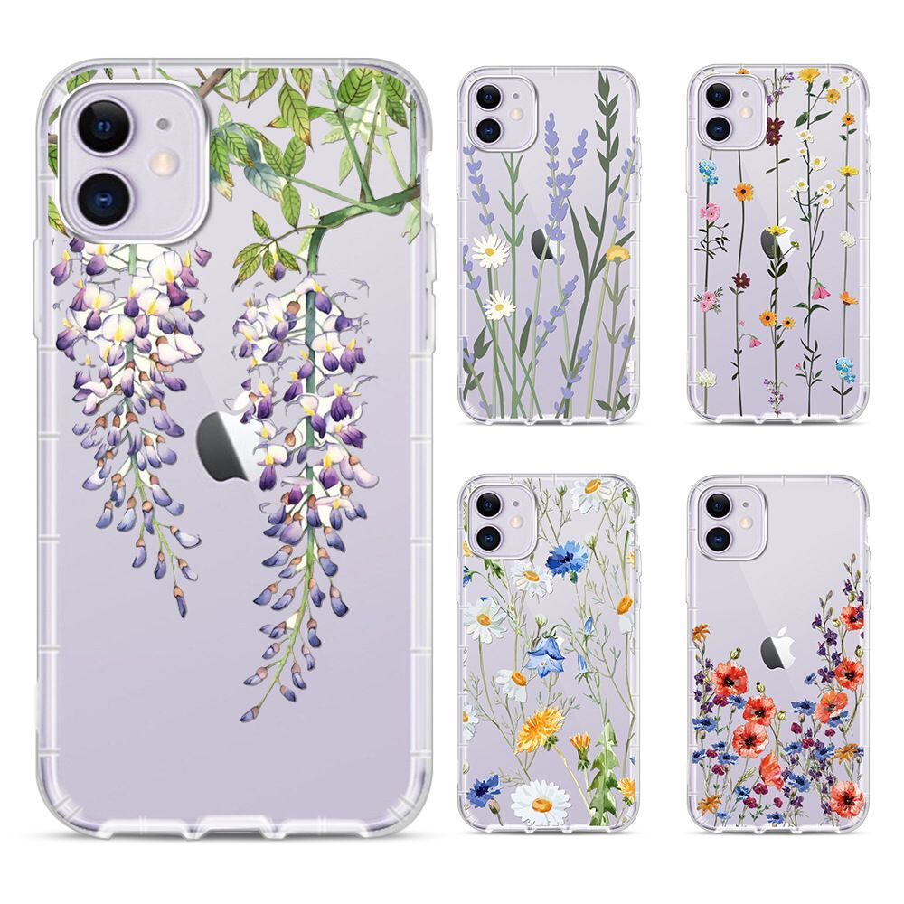 Transparent Cute Flower Case For iPhone 11 Pro Max SE 2020 X XR XS Max 7 8 Plus Soft Silicone Clear Phone Cover Coque Funda