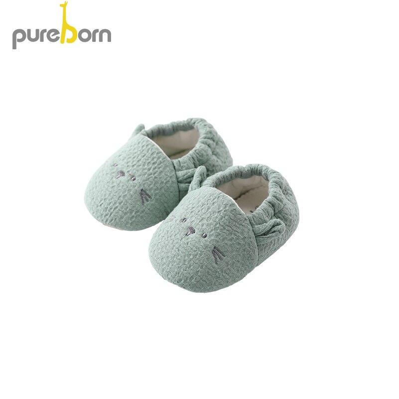 Pureborn Newborn Unisex Baby Shoes Cartoon Anti-slip Botton Slippers Baby Girl First Walkers Baby Boy Shoes
