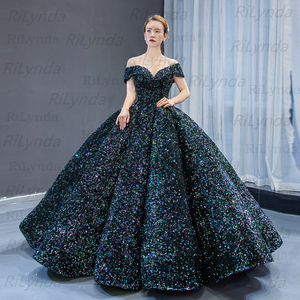 Image 3 - Dubai Green Red Gold Blue Lace Up Sequined Prom Dresses 2020 Sweetheart Sexy Luxury Bridal Gowns