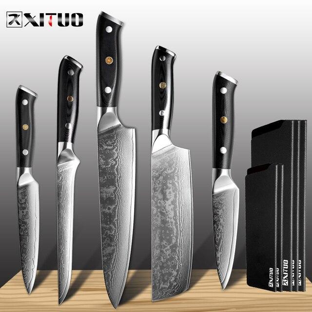 XITUO מטבח שף סכין סט VG10 דמשק פלדה 67 שכבה פרוסות Nakiri Kiritsuke סושי סכין עצם יפני סכין בישול כלים