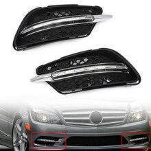 цена на MagicKit Fog lights LED DRL Daytime running light Daylight Fog Head Lamp Cover For Mercedes Benz C300 W204 AMG Sport 2008-2011