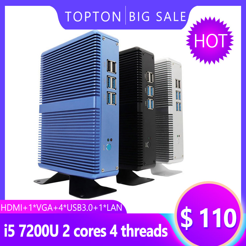 Topton Household Fanless Mini PC Intel Core I3 5005U I5 7200U DDR4 16GB HD Graphics 620 4K HTPC HDMI VGA Display Port Low Power