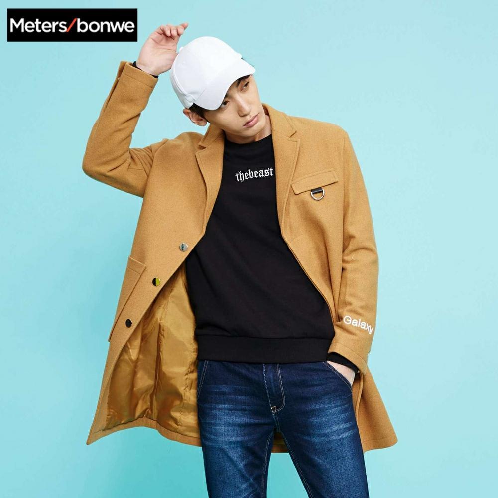 METERSBONWE Winter Men Wool Coat Medium-Long Overcoat Slim Korean Suit