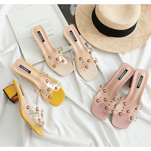 2019 new slippers, women's Korean fashion, high heels, all kinds of transparent women's shoes, one foot on INS Loafers