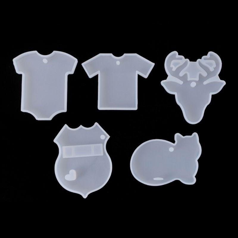 5Pcs DIY T-shirts Elk Deer Cat Babysuit Pendant Keychain Resin Mold Jewelry Tool