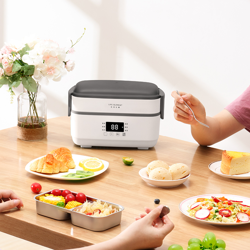 Image 3 - Double layer Electric Lunch Box Small Rice Cooker Automatic Heating Timing Insulation Mini Office Worker Double layer Cooking-in Rice Cookers from Home Appliances