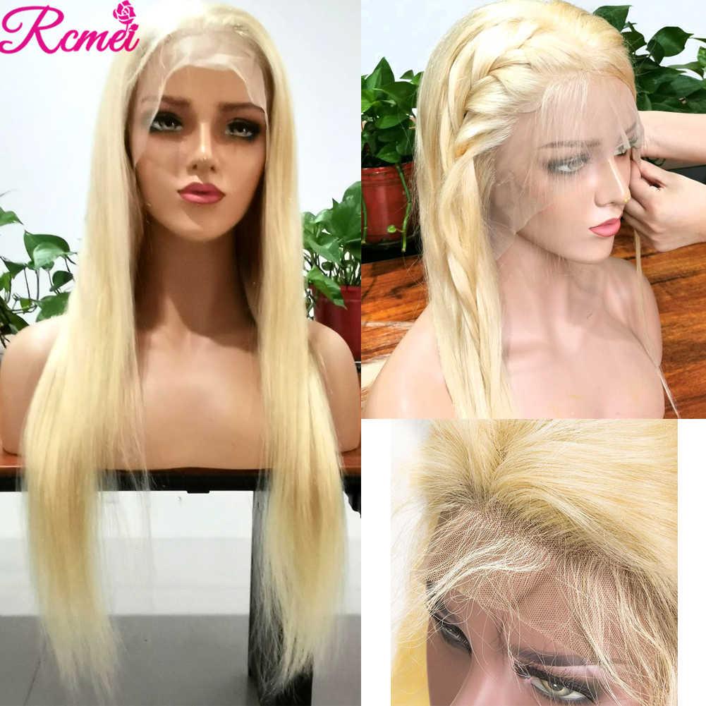 613 360 Kant Frontale Pruik Peruaanse Rechte Blond Lace front Menselijk Haar Pruiken Voor Zwarte Pre Geplukt Met Baby haar 150% Remy Pruik